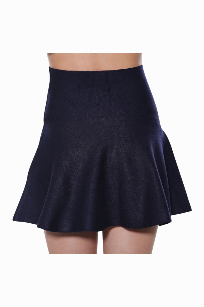 High Waist Skater Skirt In Navy