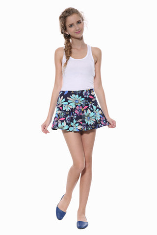 Posh Floral Skirt In Navy
