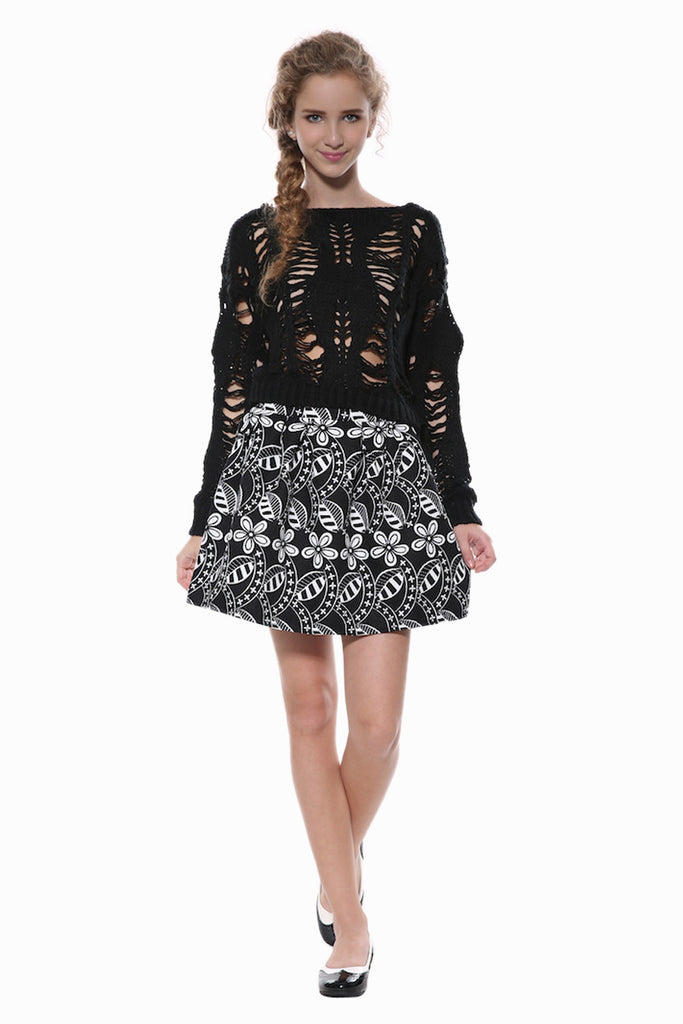 Retro A-line Skater Skirt In Black