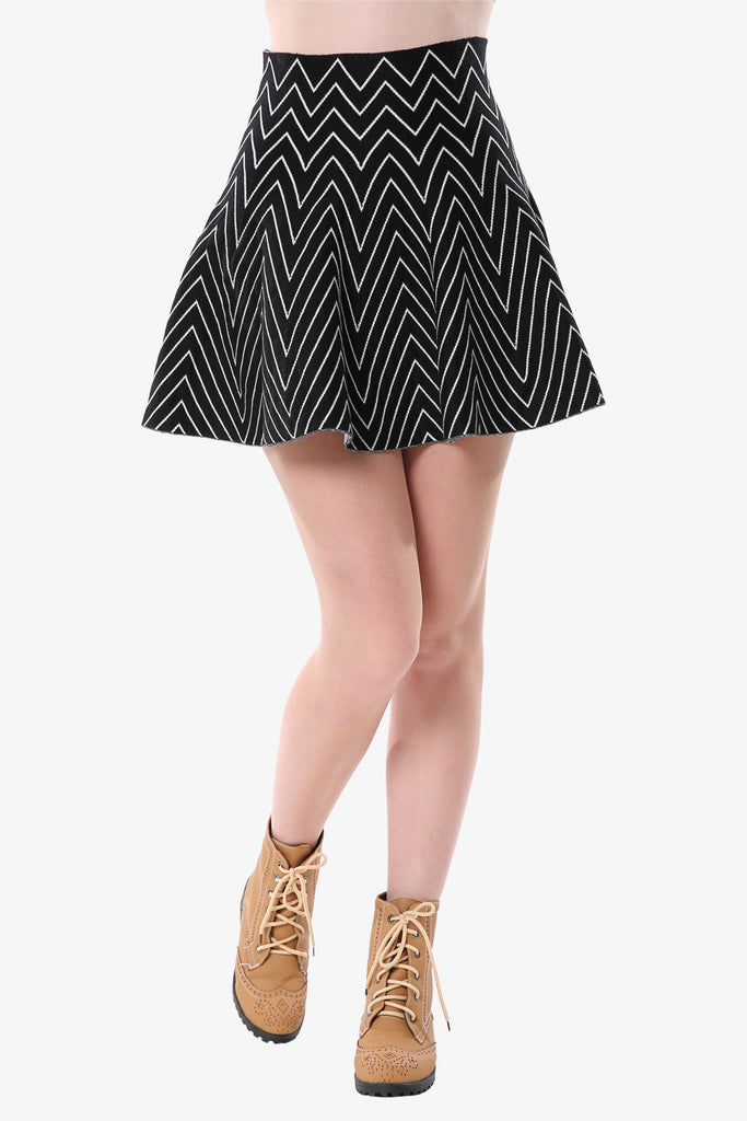 Black Chevron Mini Skirt