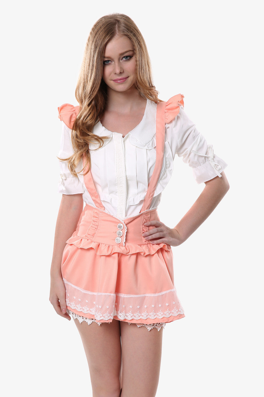 Ruffled Pink Suspender Skirt