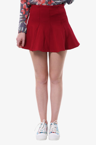Retro Pleated Mini Skirt In Red