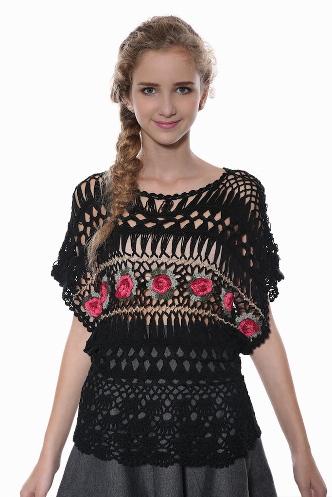 Floral Hollow-carved Black Knit Sweater