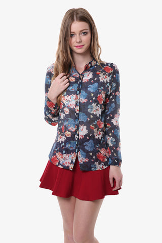 Vintage Navy Floral Button Up Shirt