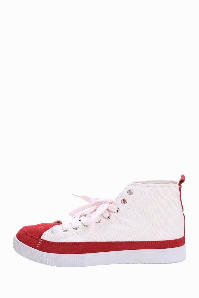 High Top Running Sneakers In Red