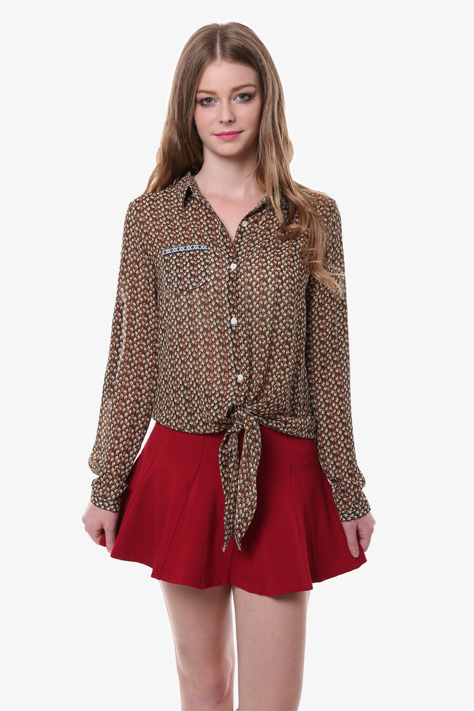 Earthy Vintage Floral Shirt In Tan