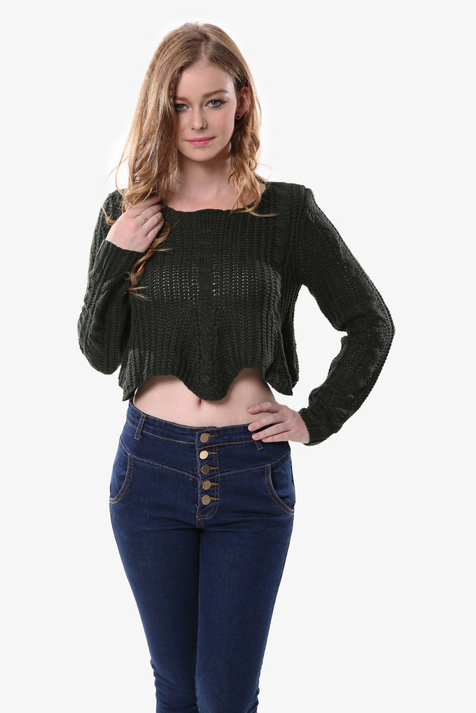 Elegant Crop Knitted Sweater In Black