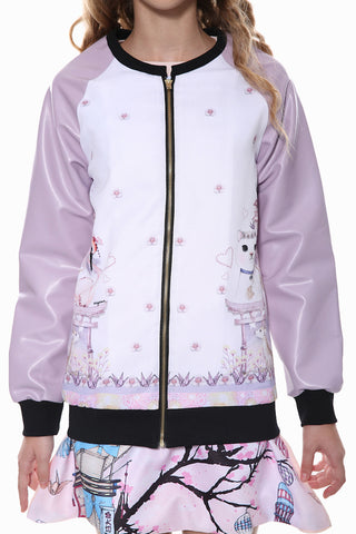 White and Lilac Leather Sleeve Zipper Jacket