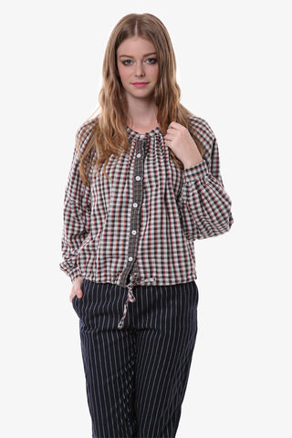Vintage Plaid Button Up Blouse In Brown