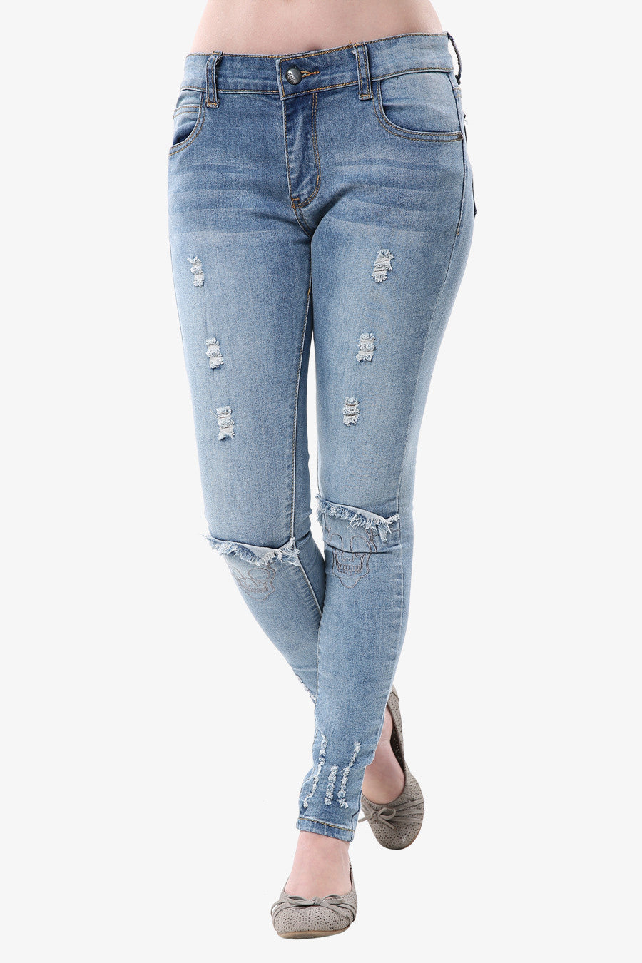 skull ragged jeans