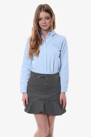 Striped Fluted Skirt In Black