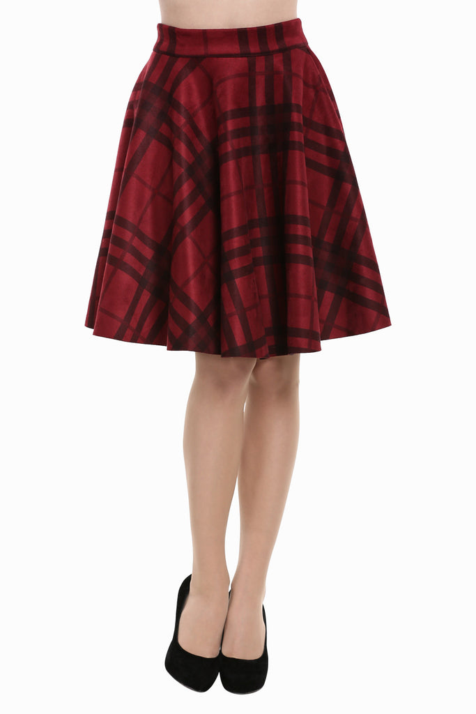 Vintage High Waist Plaid Skirt In Burgundy