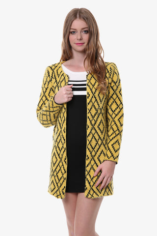 Yellow Geometric Knit Cardigan