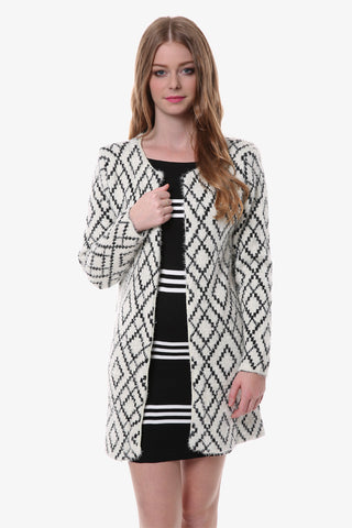White Geometric Print Cardigan
