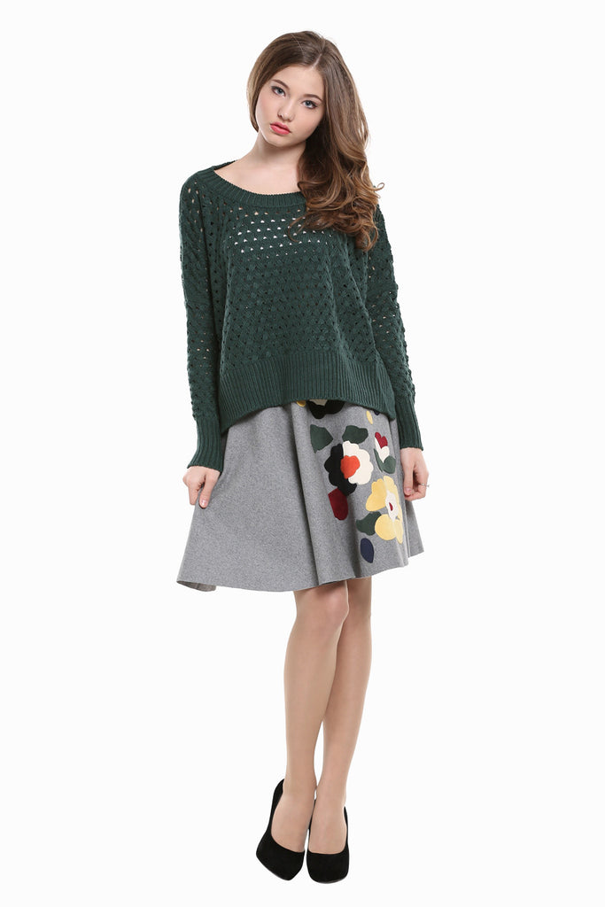 Hollow Design Asymmetrical Sweater In Green