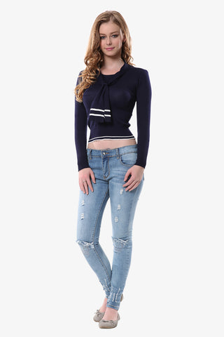 Nautical Crop Top In Navy