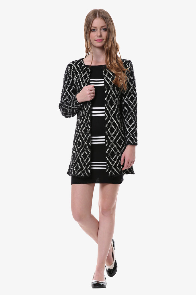 Black Geometric Print Cardigan