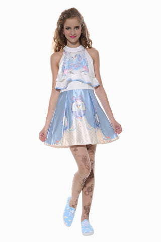 Swan Dress In White And Pastel Blue