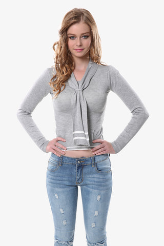 Nautical Crop Top In Gray