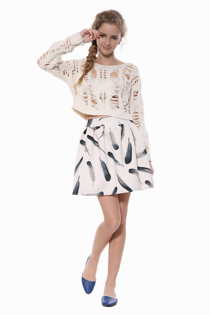 Retro Skater Skirt In White