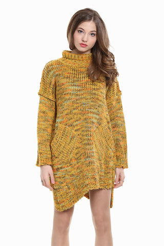 Vintage Asymmetrical Knitted Dress In Yellow