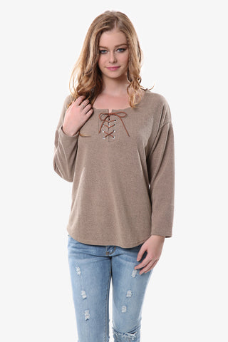 Tan Peasant Sweater