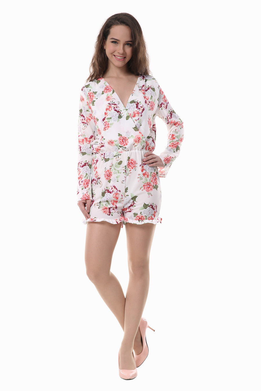 Deep V-neck Long Sleeve Romper
