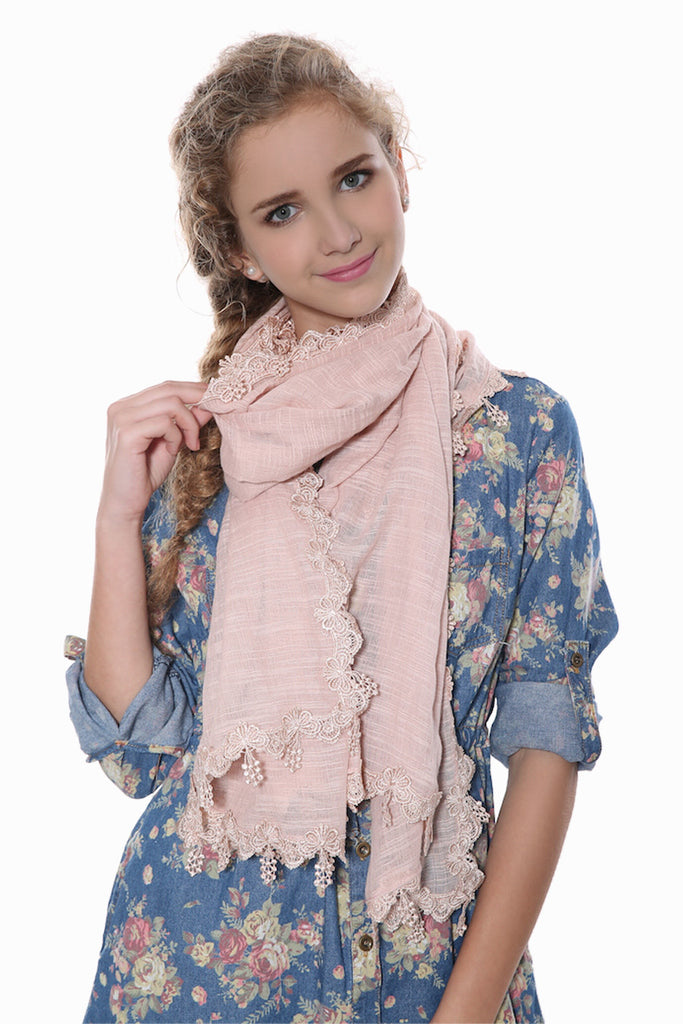 Pink Lace Scarf