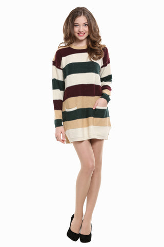 Multi Striped Knit Dress In Beige