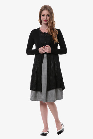 Black Stretchy Shirring Hem Knitted Cardigan