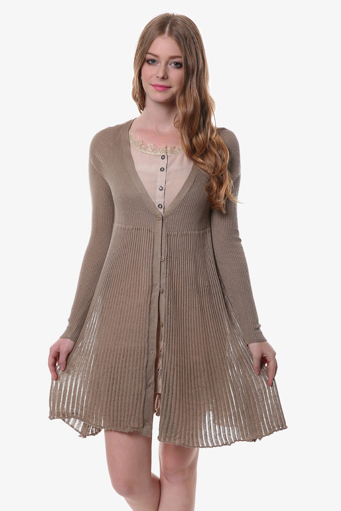 Tan Stretchy Shirring Hem Knitted Cardigan