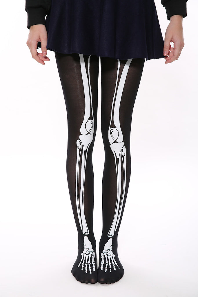 White Skeleton Tights