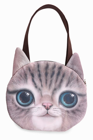 Big Eyes Pattern Pink Cat Handbag
