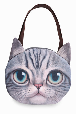 Big Eyes Pattern Blue Cat Handbag
