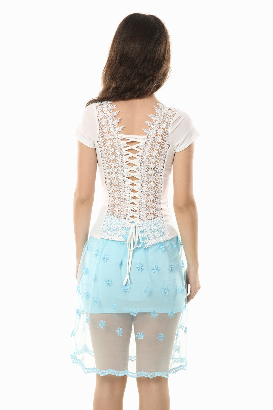 White Lace Up Back T-shirt