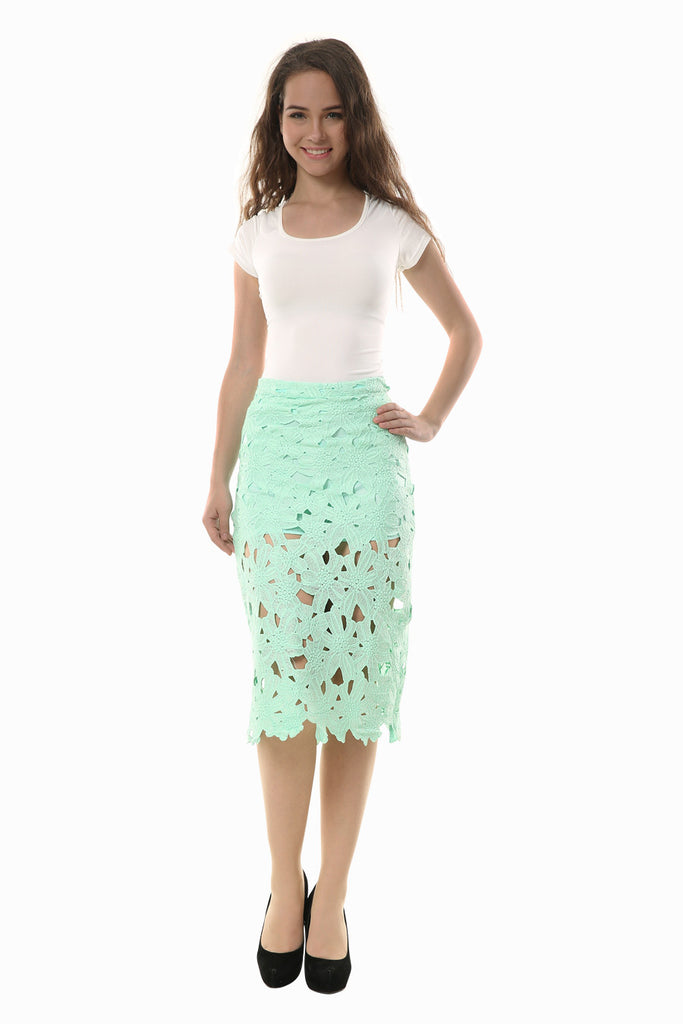 Embroidered Hollow Out Pencil Skirt