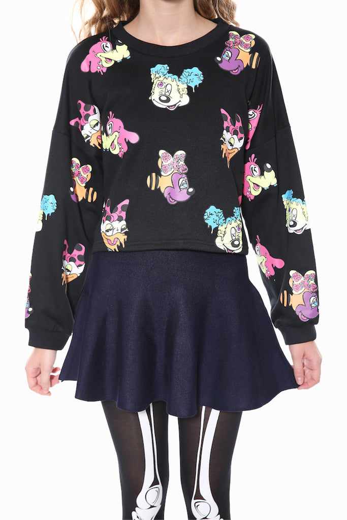 Inspired Cartoon Sweater In Black