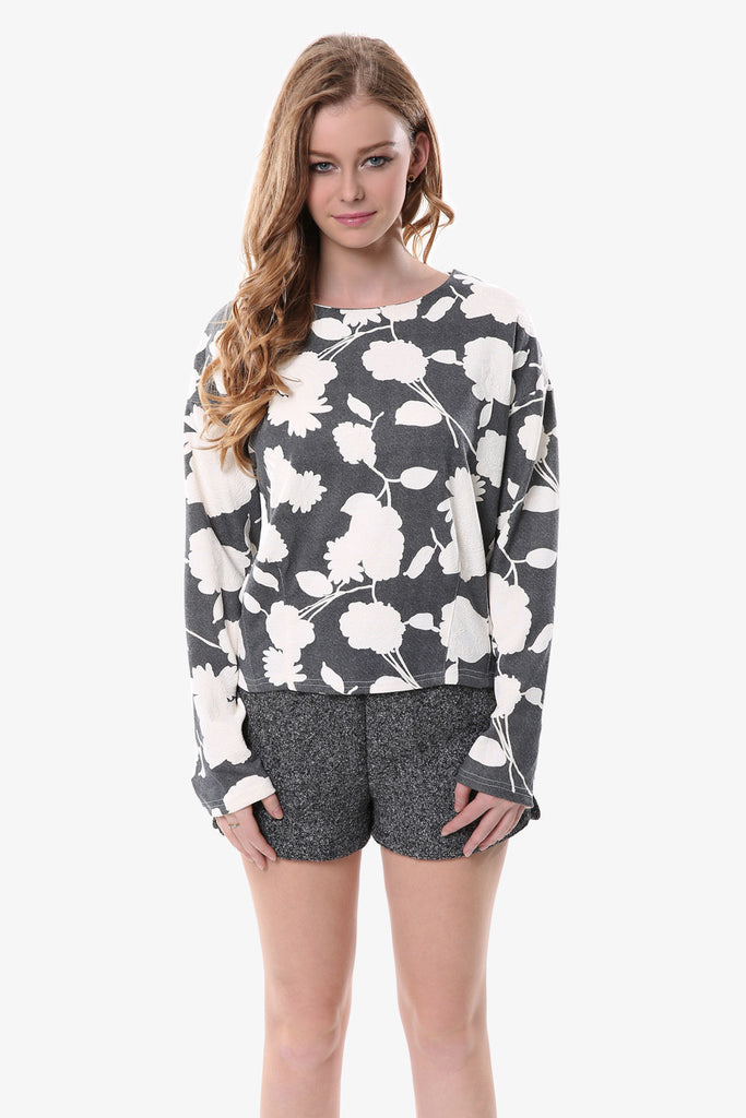 Vintage Floral Sweater in Dark Gray