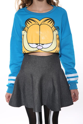 Lovely Crop Top With Garfield In Blue