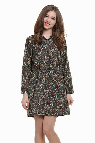 Vintage Ditsy Floral Shirtdress In Brown