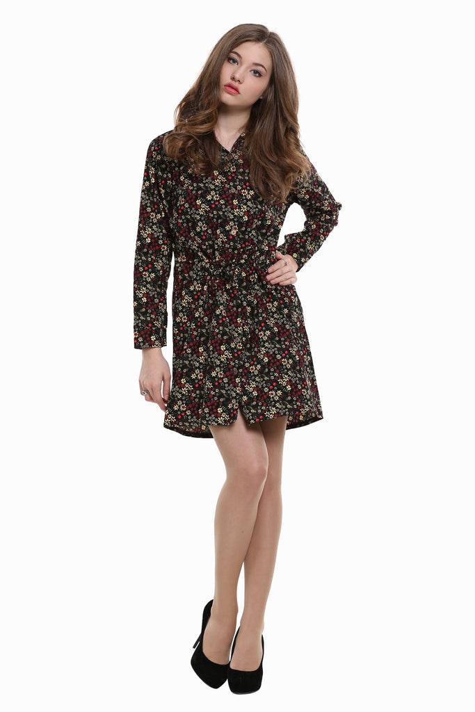 Vintage Black Ditsy Floral Shirtdress