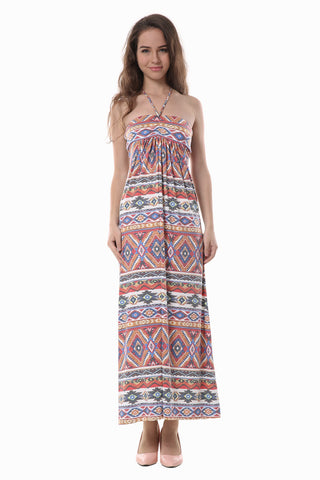 Vintage Tribal Print Maxi Tube Dress