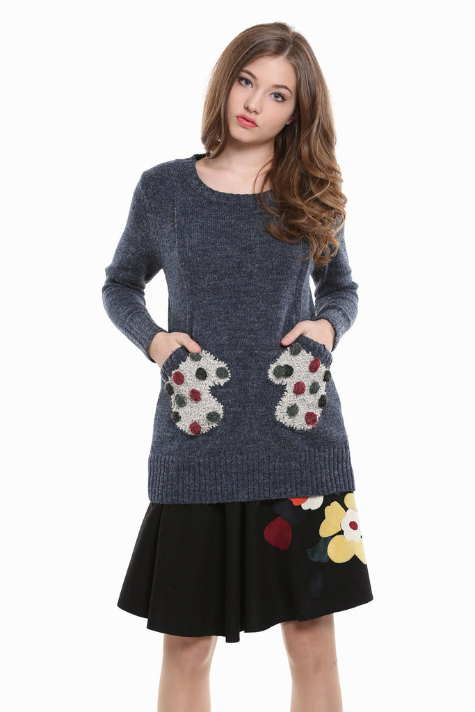 Retro Crewneck Knit Sweater In Navy