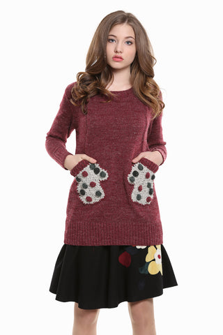 Retro Crewneck Knit Sweater In Burgundy