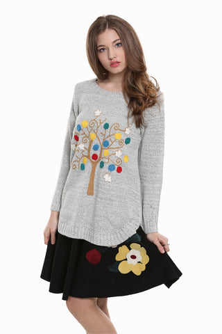 Boho Style Embroidered Tunic Sweater In Gray