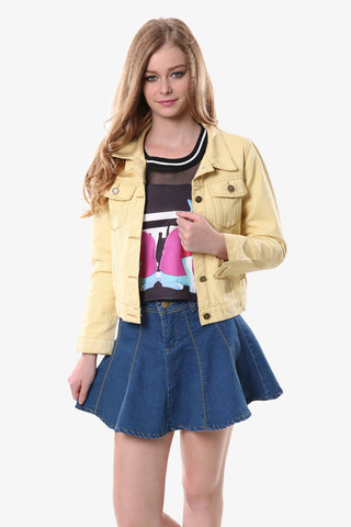 Yellow Lapel Jeans Jacket
