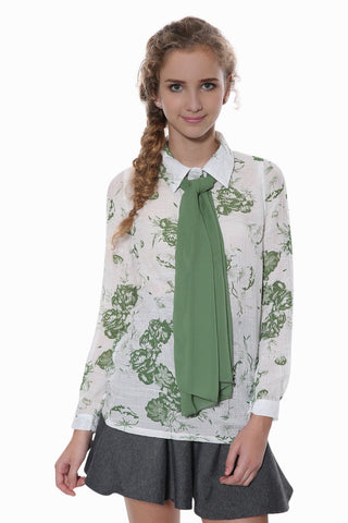 70's Green Floral Shirt With Matching Green Scarf