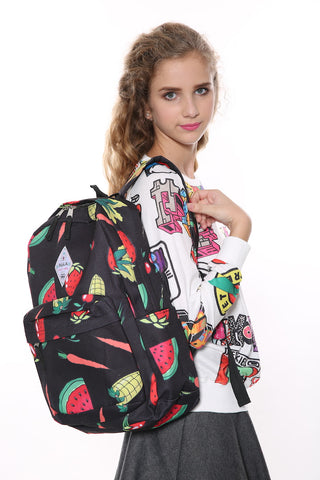 Backpack Fruits Printed In Black