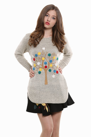 Boho Style Embroidered Tunic Sweater In Beige