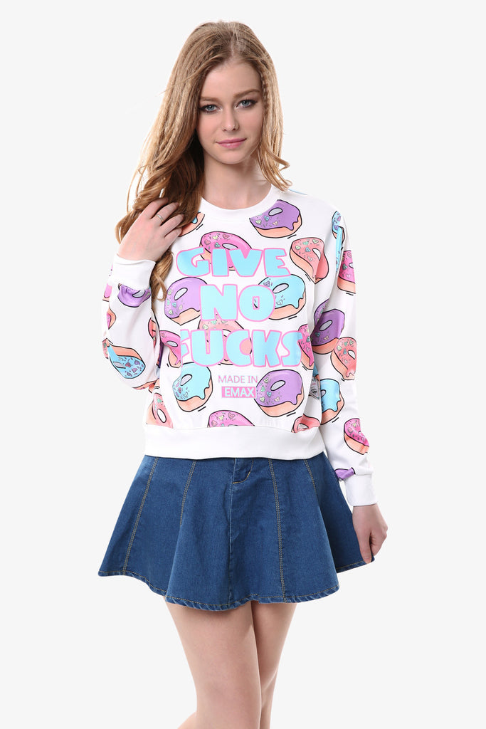 Doughnuts On Sweatshirt In White